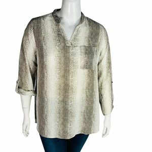 My Collection Snake Print Top Blouse 2X